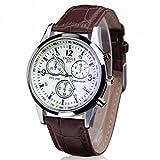 Fortan fashion faux cuir de luxe bleu montres à quartz de ray analogique de verre