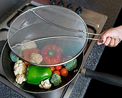 """Splatter Screen 13"""" Splash Guard - Guards From All Hot Oils - Perfect For All Your Cooking Needs - Premium Ultra Fine Woven Mesh - Stainless Steel Fits Most Pots and Pans - Non-Stick Easy Cleaning"""