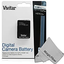 Vivitar (Complete Kit) 2 Battery and Charger for GoPro HD HERO3+, HERO3 (AHDBT-301 / AHDBT-302) - Includes: 2 Rechargeable 1775mAh Batteries + Rapid Charger + Deluxe Cleaning Kit from Vivitar