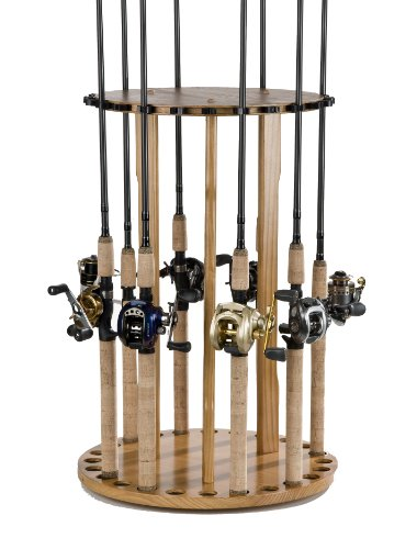 Organized fishing 24 rod spinning round rack outdoor store for Fishing rod hangers