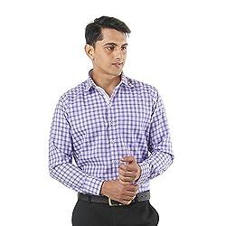 ZIDO Purple Blended Men's Checks Shirts PCFLX1312_Purple_42