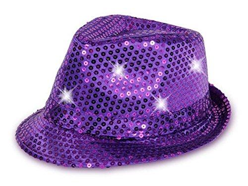 Cappello fedora borsalino di molti colori diversi con luci LED e paillette clubstyle discoteca popstar jazz blues lifestyle accessorio molto moderno hip hop spiaggia tempo libero, LED Trilby TH-40-54:TH-47 lilla