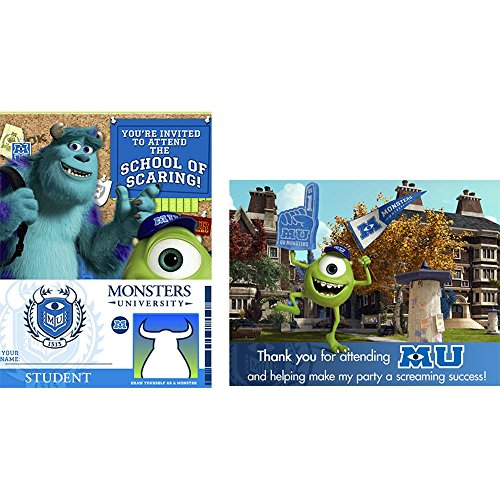 Disney Monsters U Invitations & Thank-You Postcards (8 each) - 1