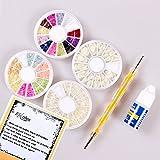BTArtbox 4 Or 6 Wheels Combo Set Nail Art Nailart Manicure Rhinestones Glitter Tips Deco + Dotting Pen + Glue Nail Art Kit
