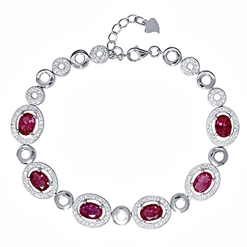 "7.55 Ct Oval Red Created Ruby 925 Sterling Silver Bracelet 7"" + 1"" Extender"