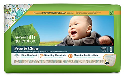 Seventh Generation Free & Clear Diapers, Size 1, 40 ct