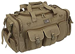 Mens Tan 26 Inch Tactical Molle Duffel Shoulder Strap Travel Bag with Key Ring Carabiner