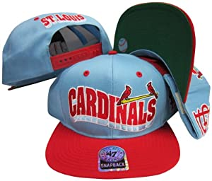 St. Louis Cardinals Light Blue Red Two Tone Plastic Snapback Adjustable Plastic Snap... by Twins