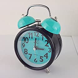 Loud Alarm Clock for Heavy Sleepers with Twin Bell and Light Ghome Offer Beside Desktop Non Ticking Silent Great for Travel and Kids Battery Operated (3 -Inch, Blue Bell)