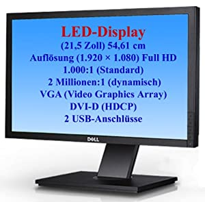 "Dell Professional P2210H - LCD display - TFT - 22"" - widescreen - 1920 x 1080 / 60 Hz - 250 cd/m2 - 1000:1 - 5 ms - 0.282 mm DVI-D, VGA, DisplayPort - black - with 3-Years Advanced Exchange Warranty"