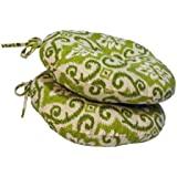 Greendale Home Fashions Round Outdoor Bistro Chair Cushion, 15-Inch, Shoreham, Set of 2