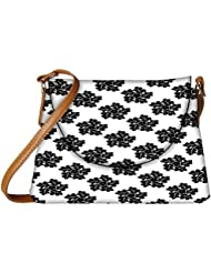 Snoogg Black Floral Pattern Designer Womens Carry Around Sling Bags