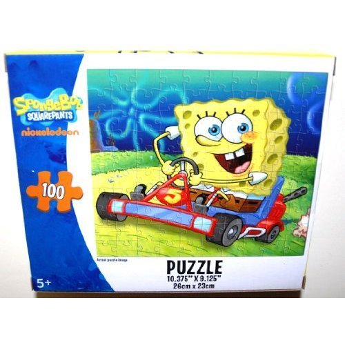 SpongeBob SquarePants 100 Piece Jigsaw Puzzle, SpongeBob the Race Car Driver (1 Each)