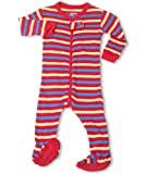 "Leveret Footed ""Striped"" Red Blue Yellow Pajama Sleeper 100% Cotton (Size 6M-5T)"