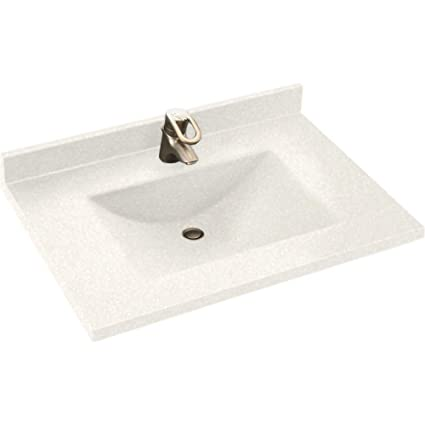 Swanstone CV2225-011 Contour 25-Inch Solid Surface Vanity Top with Tahiti White Basin