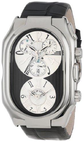 Philip Stein Men's 13-VBW-AB Prestige Black and White Chronograph Black Alligator Strap Watch