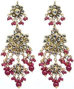 Faux Ruby Kundan Earrings - Copper Alloy
