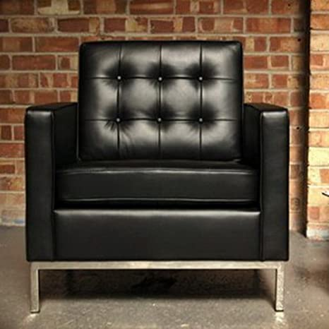 CC-6112-1 Black Leather Florence Knoll Arm chair Single Seat