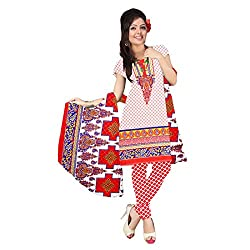 Fabfirki Red and White Crepe Printed Unstitched Salwar Suit