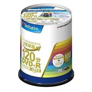 三菱化学メディア バーベイタム DVD-R(CPRM) 1回録画用 120分 1-16倍速 100枚スピンドルケース 100P インクジェットプリンタ対応(ホワイト) ワイド印刷エリア対応 VHR12JP100V4