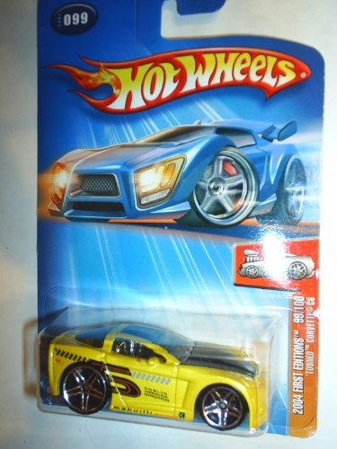 2004 - Mattel - Hot Wheels - First Editions - 'Tooned Corvette C6 - Collector #099 - Yellow - Variant: Black #5 On Side Tampo / New - Out of Production - Limited Edition - Collectible