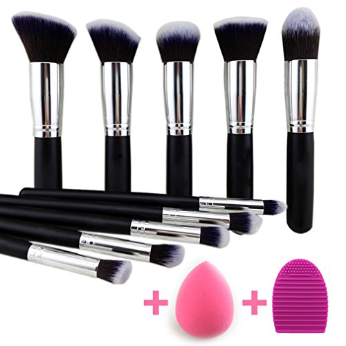 Noble Life 10 Piece Synthetic kabuki Makeup Brush kit with Blender Sponge and Brush egg - Black/Silver (Kabuki Brushes compare prices)