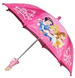 Disney Princess Girl's Pink Umbrella - Cinderella, Aurora and Snow White - 3D Rapunzel Handle