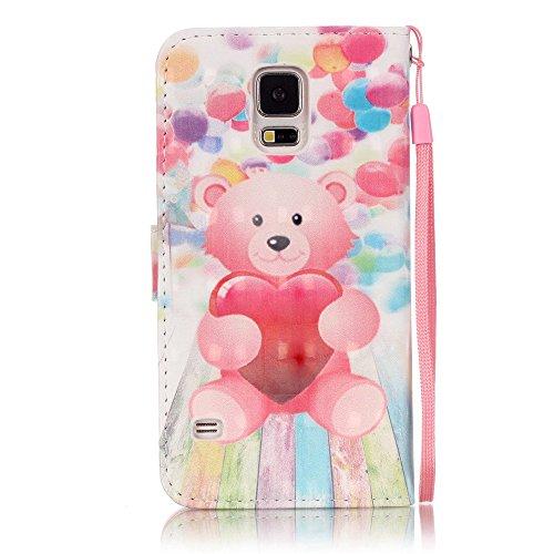 Cozy Hut Wallet case Custodia a portafoglio per Samsung Galaxy S5 - Custodia flip cover in Design Balloon Orso con scompartimento tessere e funzione supporto in multicolore rosa - Amore Orso Balloon