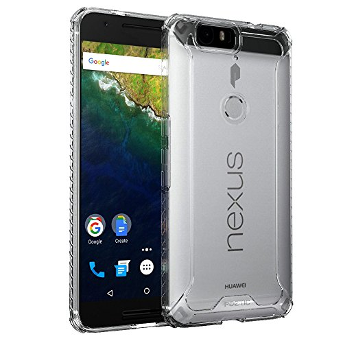 Nexus 6P Case, POETIC Affinity Series Premium Thin/No Bulk/ protection where its needed/Clear/Dual material Protective Bumper Case for Huawei Nexus 6P (2015) Frosted Clear/Clear