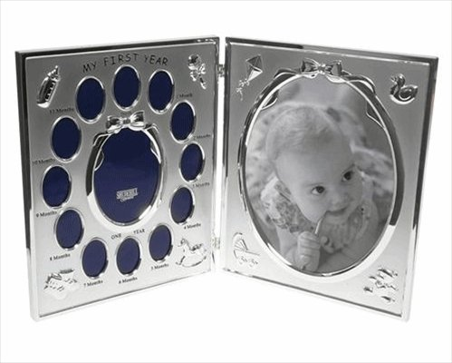 My First Year Satin Silver Double Baby Photo Frame