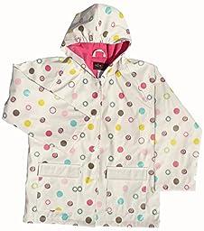 FoxFire Kid\'s Polka Dots Raincoat, White, 10 US