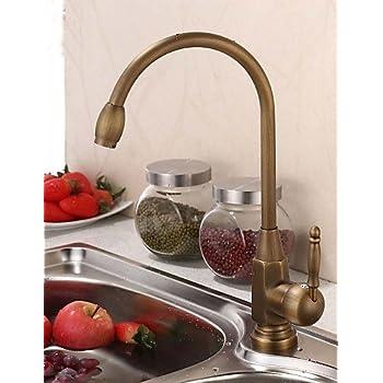 LONG-Vintage Style Antique Brass Finish Single Handle Kitchen Faucet/Bathroom Sink Faucet