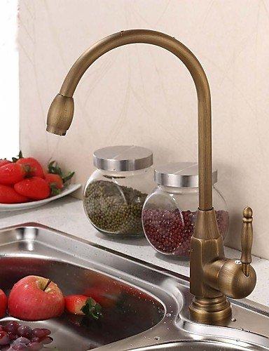 LONG-Vintage Style Antique Brass Finish Single Handle Kitchen Faucet/Bathroom Sink Faucet 0
