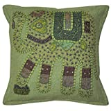 Lalhaveli Classic Elephant Art Patchwork Embroidery Cotton Pillow Cover 16 Inches 1 Pc - B00MXTK6UA