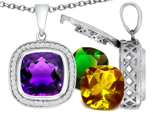 Switch-It Gems Simulated Amethyst Pendant Necklace Set with 12 Cushion-Cut 12mm Simulated Birth Months Sterling Silver (Switch Gem Necklace compare prices)