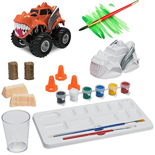 Prextex Paint Craft, Make And Paint Your Own Monster Truck 15 PC Craft kit Set a Creative Christmas Craft Toy for Boys (Make Your Own Monster High compare prices)