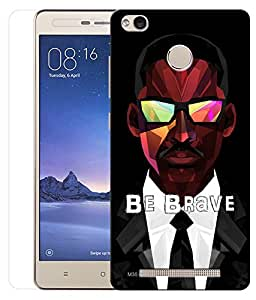 Indiashopers Combo of Be Brave HD UV Printed Mobile Back Cover and Tempered Glass For Xiaomi Redmi 3s Prime