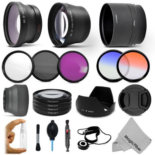 Professional Lens And Filter Kit For Fujifilm Finepix S4200, Sl300, S4500, S4000, S3200, S3250 Cameras - Includes: 0.43X Wide Angle (W/ Macro Portion) And 2.2X Telephoto High Definition Lenses + Vivitar Filter Kit (Uv, Cpl, Fld) + Vivitar Close-Up Macro F