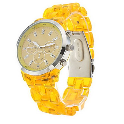 Fashionable Quartz Wrist Watch with Yellow Plastic Band