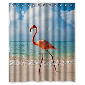 Personalized Bathroom Cool Red Bird Walking In The Beach Shower Curtain 100