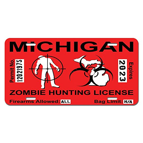 Michigan mi zombie hunting license permit red biohazard for Buy michigan fishing license