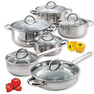 cook n home 12 piece stainless steel set cookware sets