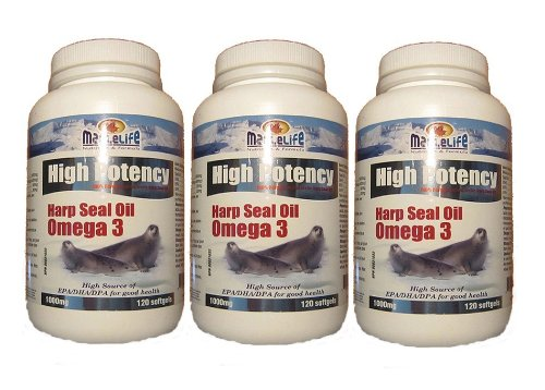 High Potency Harp Seal Oil Omega-3 1000Mg 120Softgel X 3(3 Bottles)