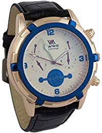 Addic EWWE Stylish Gold Tachymeter And Blue Dial With Black Leather Straps Watch For Men (58)