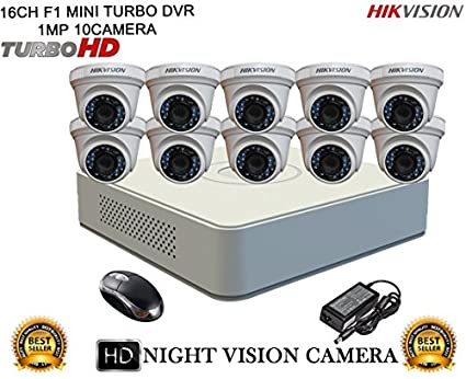 Hikvision-DS-7116HGHI-F1-Mini-8CH-Dvr,-10(DS-2CE56COT-IRP)-Dome-Cameras-(With-Mouse)