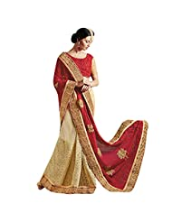 Cream And Red Georgette+Net Designer Party Wear Saree