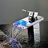 efluky 蛇口 バスルーム・キッチン用混合水栓 LEDライト 冷熱混合水栓 台所 洗面所用