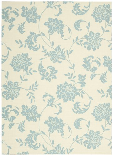 Nourison Home & Garden Indoor/Outdoor 5.3X7.5 Ivory Area Rug, 100% Polyester
