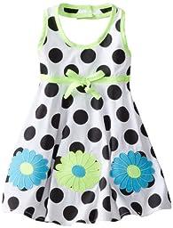 Blueberi Boulevard Baby Girls\' Flower Dot Halter Sundress, Black, 12 Months