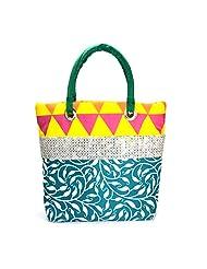 Arisha Kreation Co Women Hand Bag (Multi-color Green)